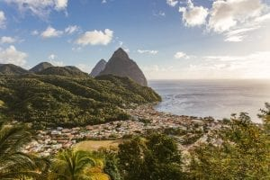 Sugarloaf pitons on St Lucia