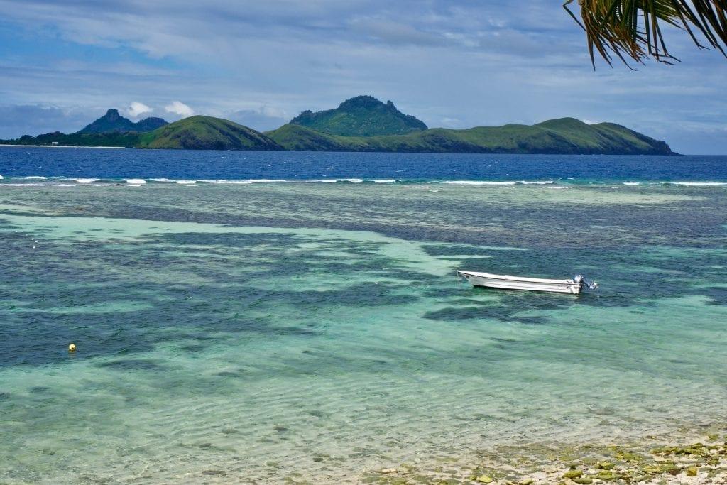 small speedboat moored up, Tokoriki Island, Fiji