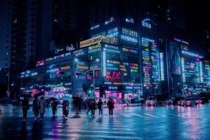 Incheon at night, South Korea