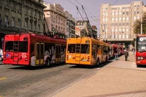 Belgrade city center with a red and yellow bus in the frame