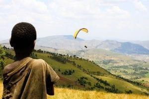 Parasailing in the hills of Burundi