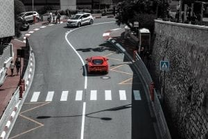 A Ferrari driving the streets of Monaco