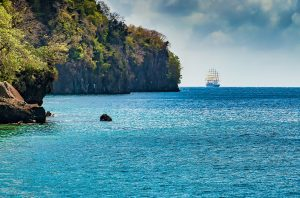 Tall Ship on the coast of the Grenadines