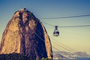 Cable car going up Sugarloaf Mountain