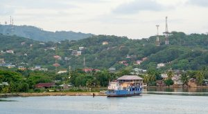 Roatan with the mountains behind it, Honduras
