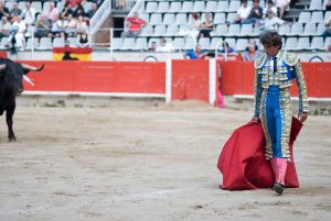 A Matador in a bull fight with red cape