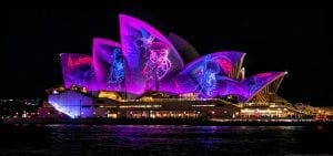 Sydney Opera House illuminated at night