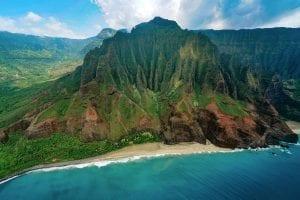 Helicopter view of the Nā Pali coast on the island of Kauai, Hawaii.