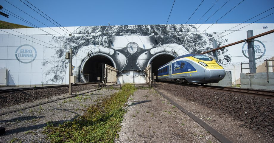 Train emerging from the Channel Tunnel
