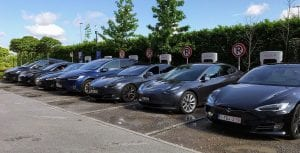 Tesla cars being charged