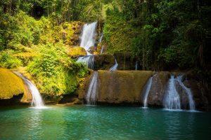 Lush waterfalls in Jamaica