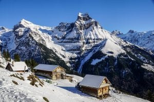 Skiing chalets in the Alps