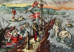 an oil painting of Christopher columbus' voyage