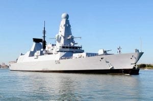 The Royal Navy Type 45 Destroyer, HMS Defender.