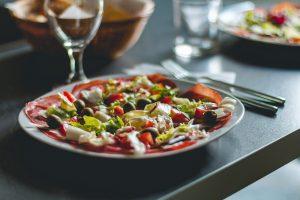 a healthy plate of Mediterranean food