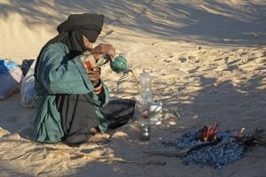 A Sahrawi person - someone that lives in the Sahara Desert