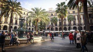 a pretty square in Barcelona