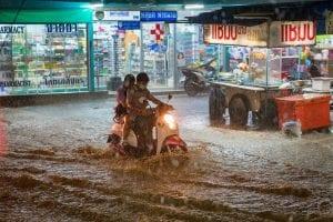 motorbike going through deep water