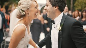 wedding day couple laughing