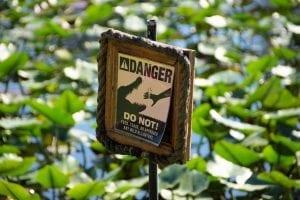 Danger sign warning of alligators in the Everglades