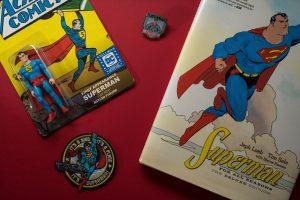 vintage superman comic and figurine
