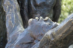 bronze monument remembering slavery and racism