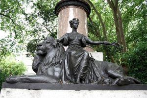 Bronze Statue of Britania at Waterloo Place in London