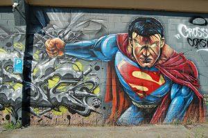 Wall art mural of Superman