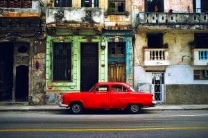 A red vintage American car in Havana