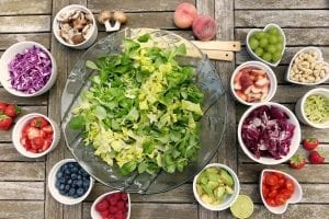 a wide selection of healthy salad ingredients