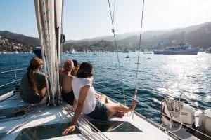 relaxing on a sailing boat