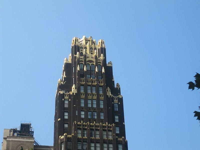 Bryant Park Hotel in NYC exhibiting an art deco style of architecture