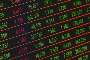 Stock market ticker showing share prices