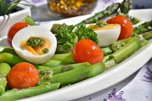 boiled eggs with salad