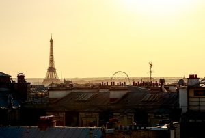 Rooftops of Paris with the Eiffel Tower in the background