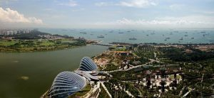 Drone view of Singapore's Marina Bay