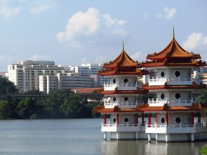 Chinese building over water in Singapore