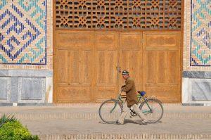 man with bike, Uzbekistan