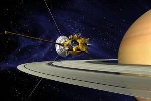 Cassini spacecraft and Saturn