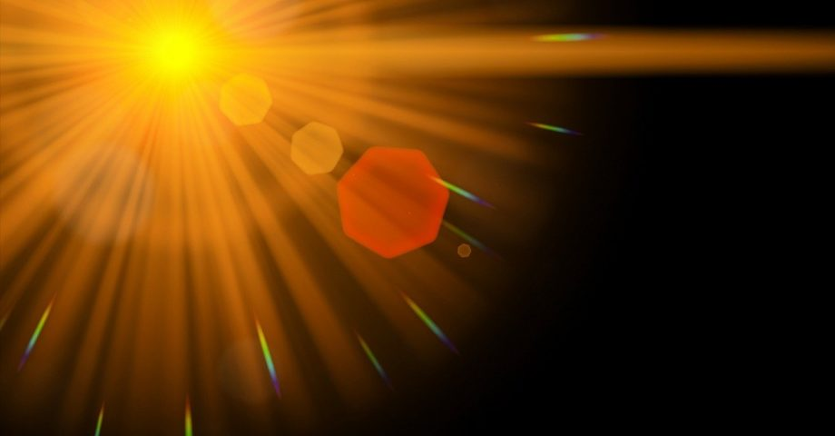 A bright lens flare