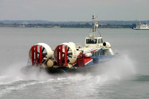 a hovercraft on the sea, going towards the Isle of Wight, England