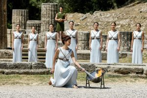 the Olympic flame being lit, Athens