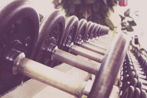 a row of dumbbells
