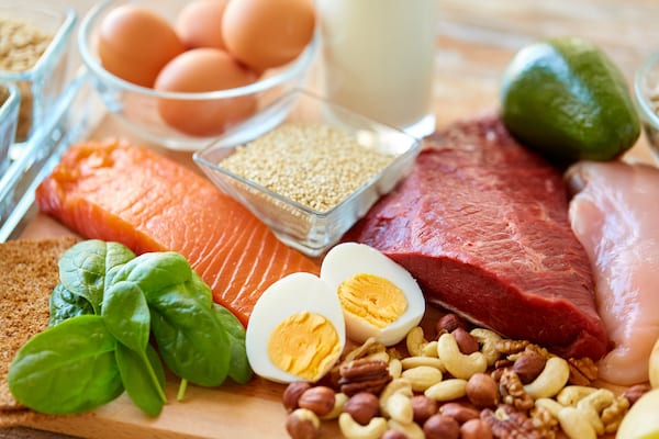 Natural proteins laid out on a table