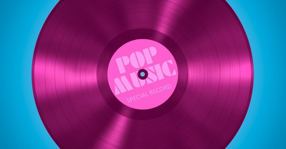 An illustration of an old vinyl record of pop music